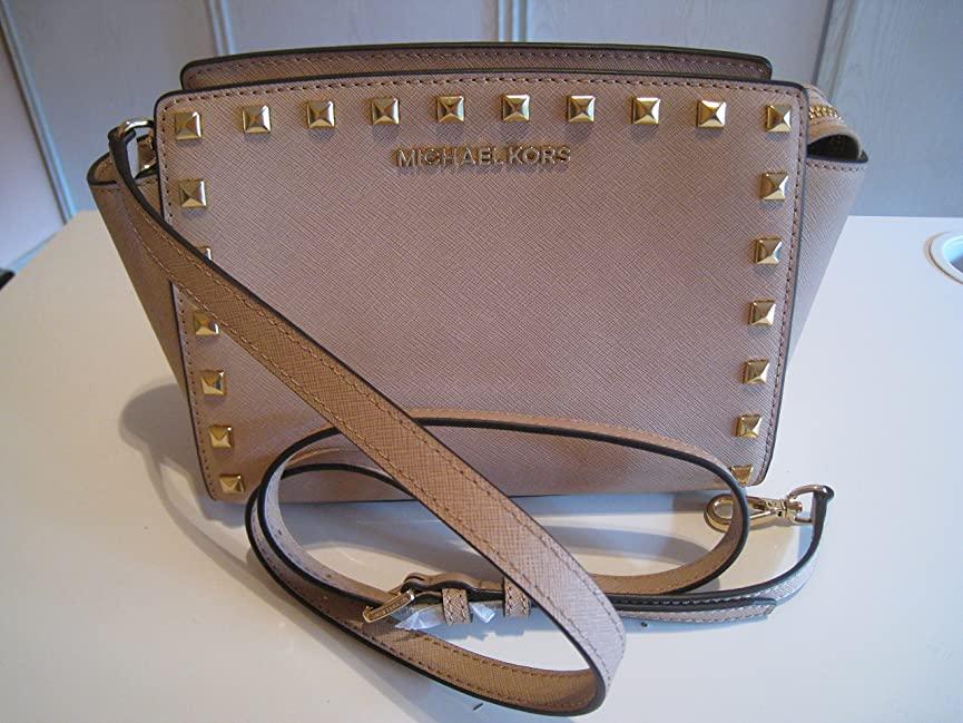 引き金デザイナービンMichael Kors Selma Medium Stud Crossbody Handbag Dark Dune