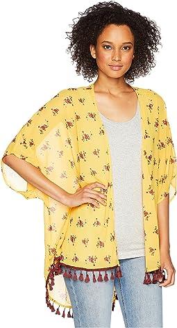 Chiffon Kimono w/ Tassel Trim