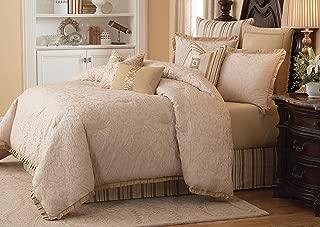 Michael Amini 10 Piece Carlton Comforter Set, King, Beige/Brown/Tan