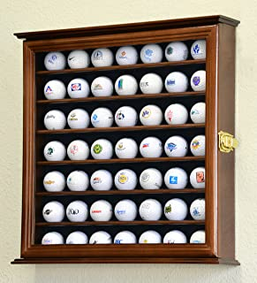 49 Golf Ball Display Case Cabinet Rack Holder w/ UV Protection -Walnut Finished