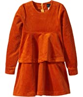 Oscar de la Renta Childrenswear - Long Sleeve Cotton Corduroy Tiered Dress (Toddler/Little Kids/Big Kids)