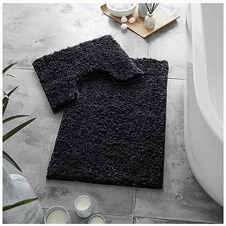 GC GAVENO CAVAILIA Juego de 2 Alfombrillas de baño de Lujo súper Suaves, Antideslizantes, Extra absorbentes, 100% poliéster, Regular (50 x 80, 50 x 40 cm), Color Negro