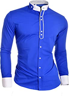 D&R Fashion Designer Men's Shirt with Double Cuffs and Grandad Band Collar Cotton Royal Blue