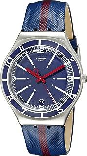 Swatch Women's YGS467 Floating Line Year-Round Analog Quartz Blue Watch