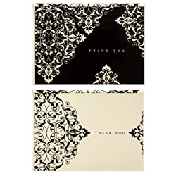 Boxed Thank You Notes Assortment, Hallmark (Black and White Ivory Scroll, 50 Cards with Envelopes)