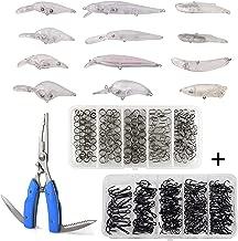 Blank Lures Unpainted Crankbait Lures Kits, 313Pcs Including Fishing Treble Hooks Set Split Rings Kit Fishing Pliers Scissors DIY Hard Bait Fishing Tackle