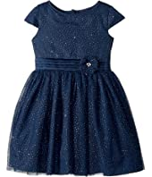Us Angels - Cap Sleeve Gold Sparkle Netting Dress (Toddler/Little Kids)