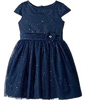 Us Angels - Cap Sleeve Gold Sparkle Netting Dress (Toddler/Little Kids)
