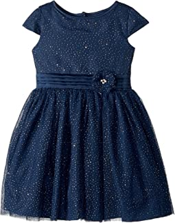 Cap Sleeve Gold Sparkle Netting Dress (Toddler/Little Kids)