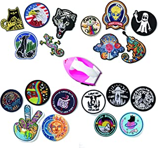 Iron on Patches, Sew on Patches, Embroidered Patches with Iron, Alien, Wild Animal, Motivational Art, Spiritual Patches for Jackets, Jeans, Clothing, Backpacks (Animal with a Mini Iron)