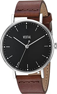 Vestal Sophisticate Stainless Steel Swiss-Quartz Watch with Leather Strap, Brown, 20 (Model: SP42L04.BR)