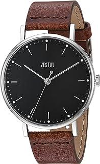 ساعة فيستل سوفيستيكا ستانلس ستيل سويسرية كوارتز مع حزام جلدي، لون بني، 20 سم (SP42L04.BR)