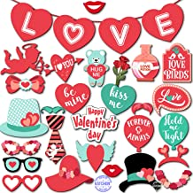 KATCHON Valentines Photo Props and Banner - 31 Props - Large Size - Valentines Day Decorations - Wedding Decor - Valentine Decorations - Anniversary Decorations Props