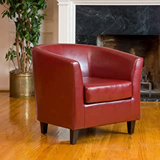 Christopher Knight Home Preston Oxblood Bonded Leather Tub Club Chair, Red
