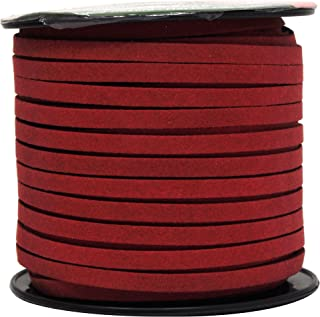Mandala Crafts 50 Yards 5mm Wide Jewelry Making Flat Micro Fiber Lace Faux Suede Leather Cord (5mm, Maroon)