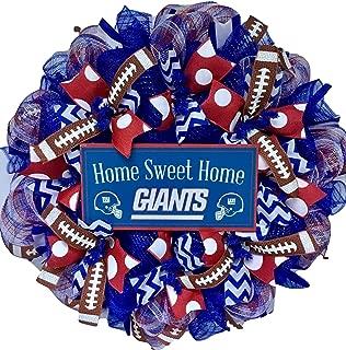 NY Giants Football Sports Wreath Handmade Deco Mesh