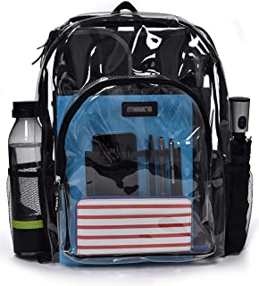 "Heavy Duty Clear Backpack - Stadium Approved Transparent Design for Quick Access at Security Checkpoints. Adjustable Shoulder Straps, Dual Zippered Compartments and Mesh Side Pockets. (16"" H x 11"" W)"