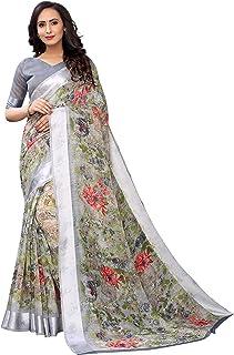 PERFECTBLUE Women's Blend Linen Saree With Un-stitched Blouse
