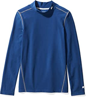 Starter Boys' Long Sleeve Mock Neck Athletic Light-Compression T-Shirt, Amazon Exclusive