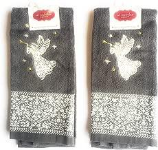 St. Nicholas Square Christmas Angel Embroidery Decorative Bath Hand Towels, Set of 2