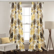 Lush Decor Leah Floral Darkening Yellow and Gray Window Panel Curtain Set for Living, Dining Room, Bedroom (Pair), 108
