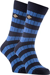 Farah - 2 Pack Mens Thick Cotton Striped Patterned Ribbed Crew Dress Socks