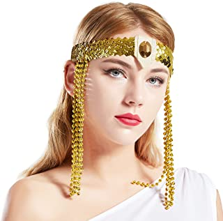 BABEYOND Egyptian Cleopatra Costume Accessories Headband Beaded Pharaoh Costume Headpiece Gold Sequined Ancient Egypt Hair Accessories