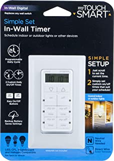 myTouchSmart 24-Hour in-Wall Digital Timer, 4 Programmable Easy On/Off Buttons, Daily Cycle, Simple Setup, Battery Backup,...