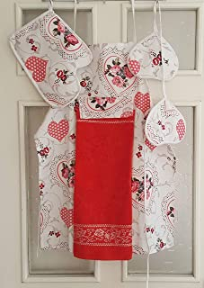 Sun Of Anatolia Kitchen Apron for Women/Men, Kitchen Cooking Apron Set,1 Apron,1 Oven Mitten,2 Pot Holders,1 Kitchen Towel/Washcloth Attached to Apron,Red and White