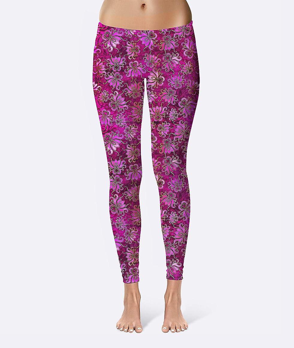 Batik Lotus Flower Premium Women's High Waist Leggings featuring original design by Artist Dan Morris
