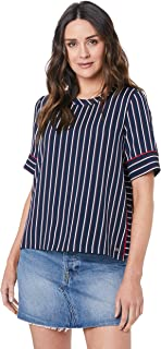 TOMMY HILFIGER Women's Stripe Short Sleeve T-Shirt, Blazer Stripeipe/Sky Captain