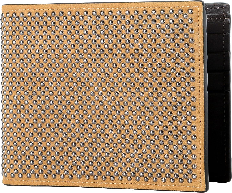 Giuseppe Zanotti Leather Brown Metal Beads Embellished Men's Bifold Wallet