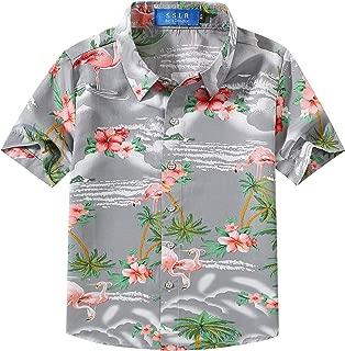 Big Boy's Flamingos Button Down Short Sleeve Aloha Hawaiian Shirt