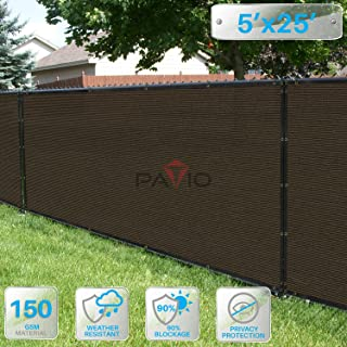 Patio Paradise 5' x 25' Brown Fence Privacy Screen, Commercial Outdoor Backyard Shade Windscreen Mesh Fabric with Brass Gromment 88% Blockage- 3 Years Warranty (Customized