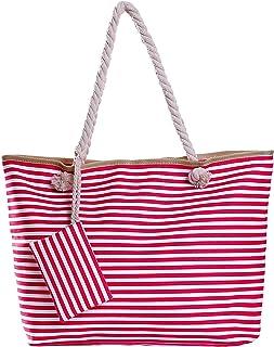 Große Strandtasche mit Reißverschluss 58 x 38 x 18 cm gestreift Beere weiß Shopper Schultertasche