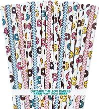 شفاطات ورقية على شكل دونات - نمط الدونات وشيفرون - وردي أزرق أصفر - عبوة من 100 ورقة خارج الصندوق