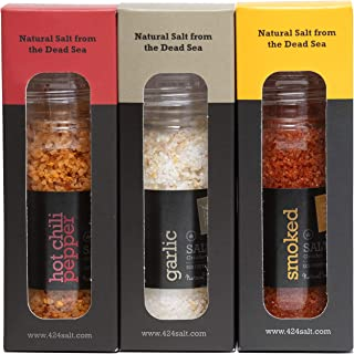 Gourmet Flavored Salt 3 Pack With Glass Grinders - Organic Dead Sea Seasoning Salts Variety Set - Natural Smoked Salt, Garlic Salt and Hot Chili Pepper - Kosher Fancy Infused Cooking Spices Set