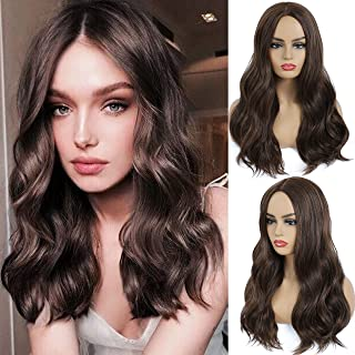 Monikahair Long Wave Brown Wig for Women Brown Wave with Middle Part 24inch Synthetic Wig for Cosplay Daily Holiday