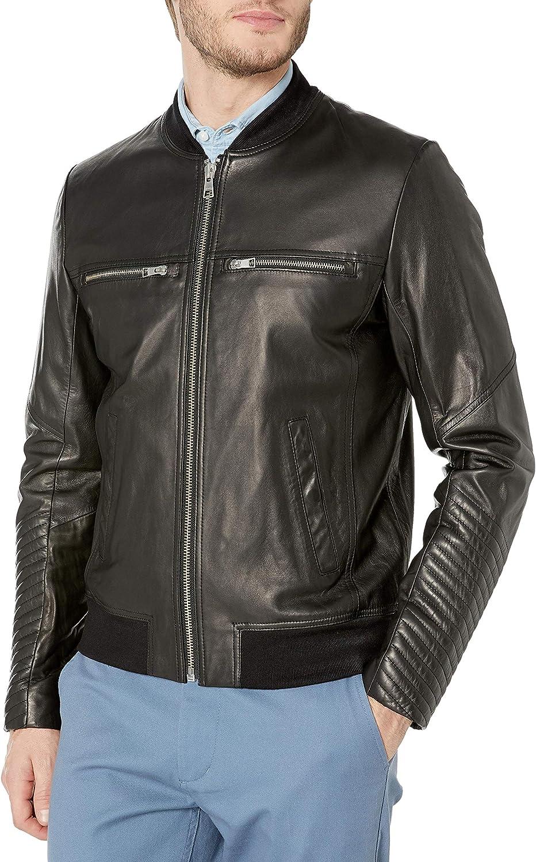 Soia & Kyo Men's Griffin Leather Bomber Jacket