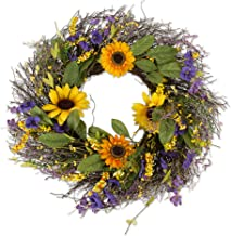 "DII Seasonal Spring or Summer Wreath 22"" Round - Sunflower"