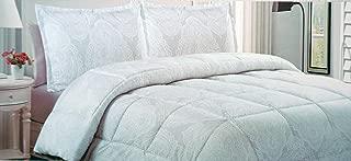Artisan de Luxe Bedding 3 Piece King Duvet Cover Set White Paisley Medallion on Light Gray