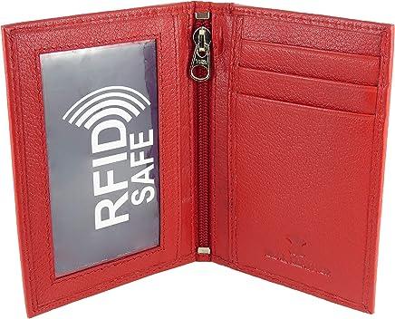 Slimline - Portefeuille de voyage en cuir souple pour carte de crédit avec double fenêtre