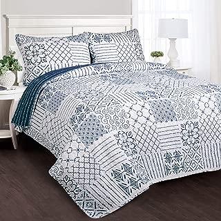 Lush Decor Monique 3 Piece Reversible Print Pattern Blue Quilt Set, King,