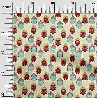 oneOone Viscose Jersey Fabric Lord Buddha Face Kalamkari Printed Fabric 1 Yard 60 Inch Wide