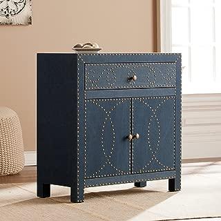 Florian Double Door Navy Cabinet - Ornate Design - 2 Door Cabinet w/ Removable Shelf