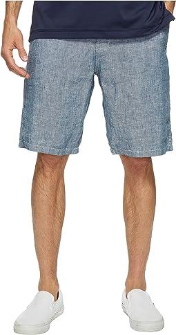 Chambray Flat Front Shorts