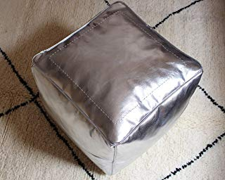 proucrafts Luxury Moroccan Handmade Pouf Faux Leather Silver 17.7 ɪn unstuffed Square