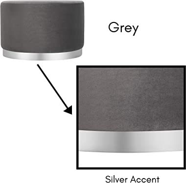 BIRDROCK HOME Round Grey Velvet Ottoman Foot Stool – Soft Large Padded Stool – Silver Trim - Coffee Table - Great for The Liv