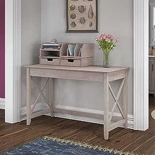 Bush Furniture Key West 48W Writing Desk with Desktop Organizers in Washed Gray