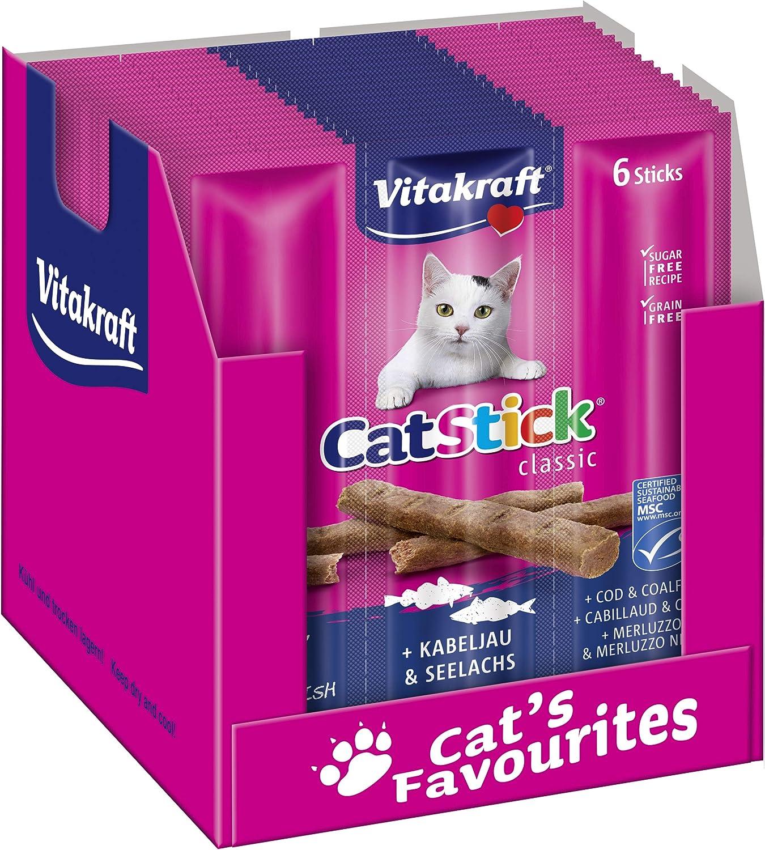 Vitakraft - Aperitivo para gatos, Caja con 10 piezas de 6 sticks